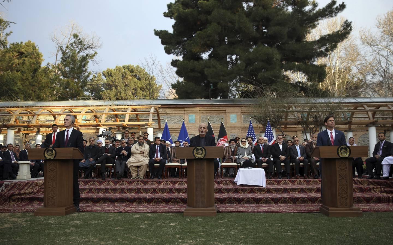 Afghan President Ashraf Ghani, U.S. Secretary of Defense Mark Esper, NATO Secretary General Jens Stoltenberg