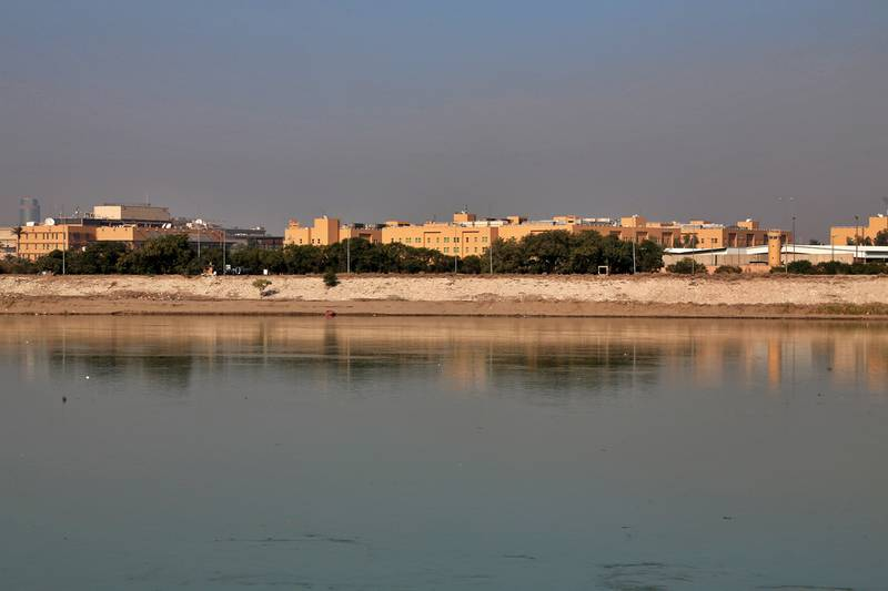 The U.S. Embassy is seen from across the Tigris River in Baghdad, Iraq Jan. 3, 2020.