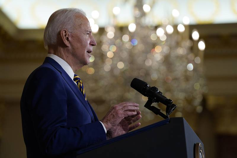 President Joe Biden speaks about foreign policy, at the State Department on Feb. 4, 2021, in Washington.