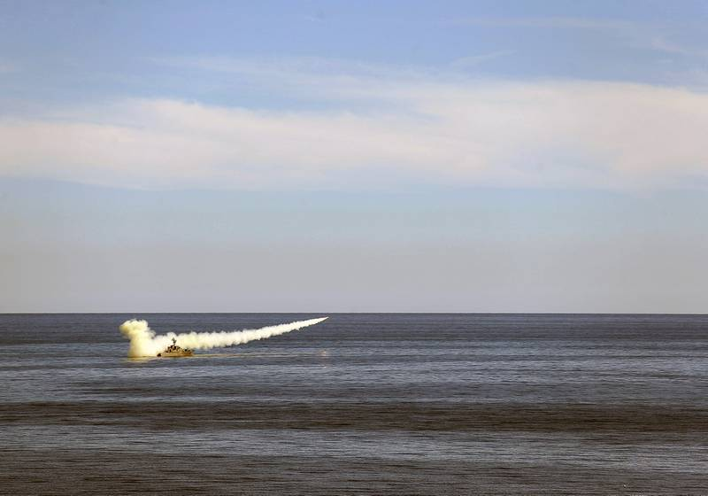In this image released Thursday, Jan. 14, 2021, by the Iranian Army, a missile is launched from a warship during a naval drill.