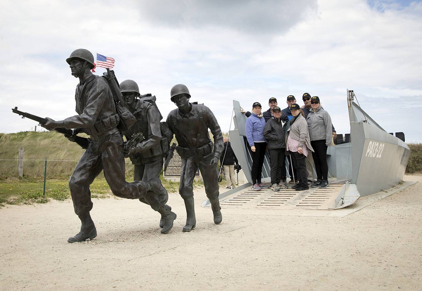 a statue of WWII U.S. soldiers on Utah Beach in Sainte-Marie-du-Mont, Normandy, France.