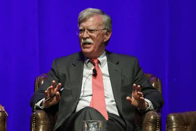 In this Feb. 19, 2020, file photo, former national security adviser John Bolton takes part in a discussion on global leadership at Vanderbilt University in Nashville, Tenn.