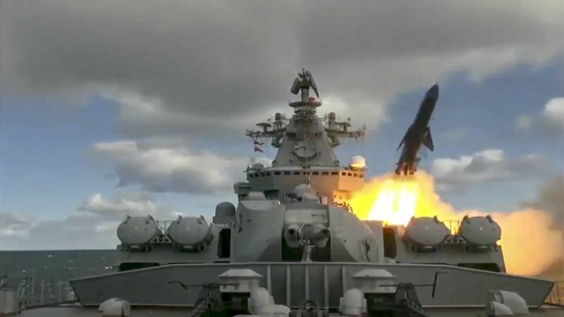 In this undated video grab provided by Russian Defense Ministry Press Service, Russian warships take part in maneuvers in the Bering Sea.