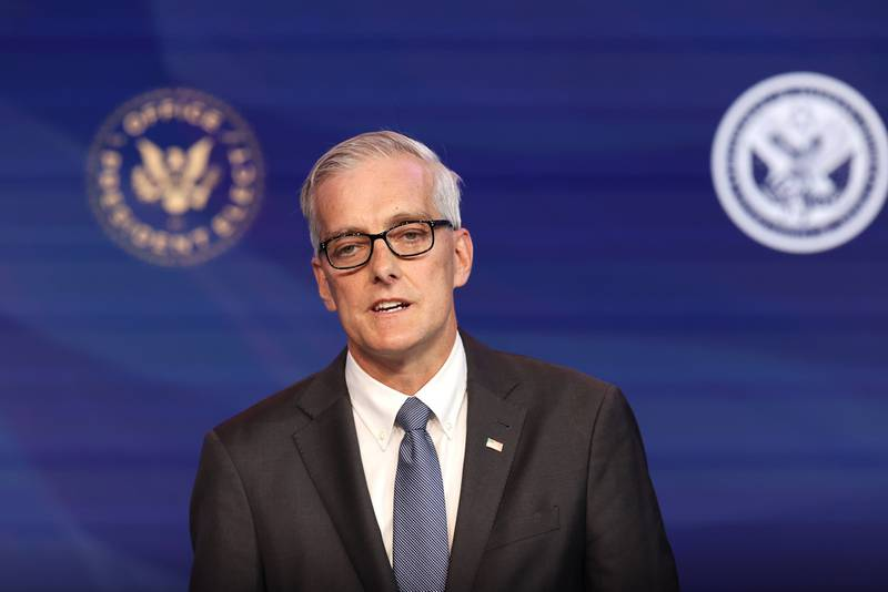 Former Obama White House Chief of Staff Denis McDonough delivers remarks after being introduced as U.S. President-elect Joe Biden's nominee to head the Department of Veterans Affairs at the Queen Theater on Dec. 11, 2020, in Wilmington, Del.