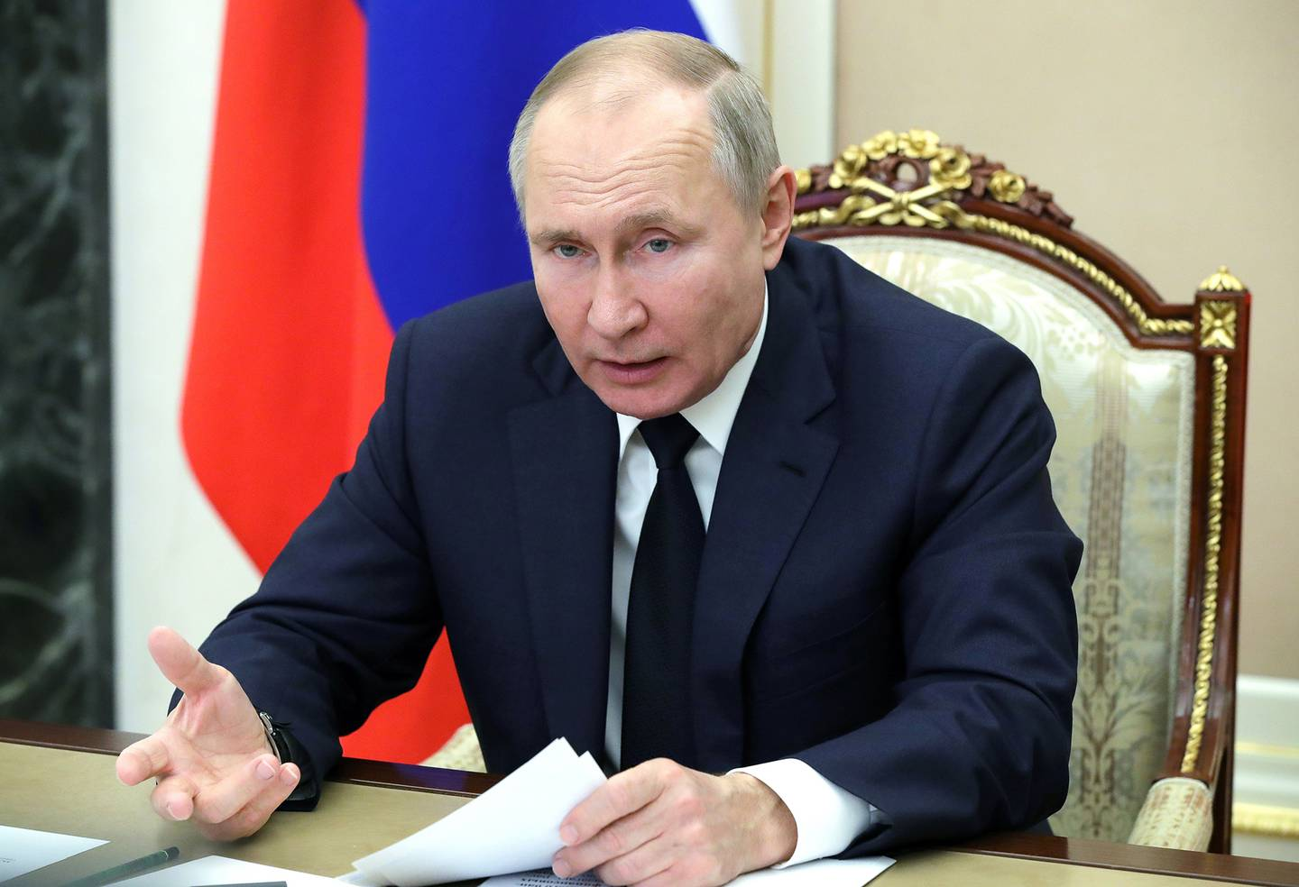 Russian President Vladimir Putin leads a meeting via video conference in Moscow on Feb. 1, 2021.