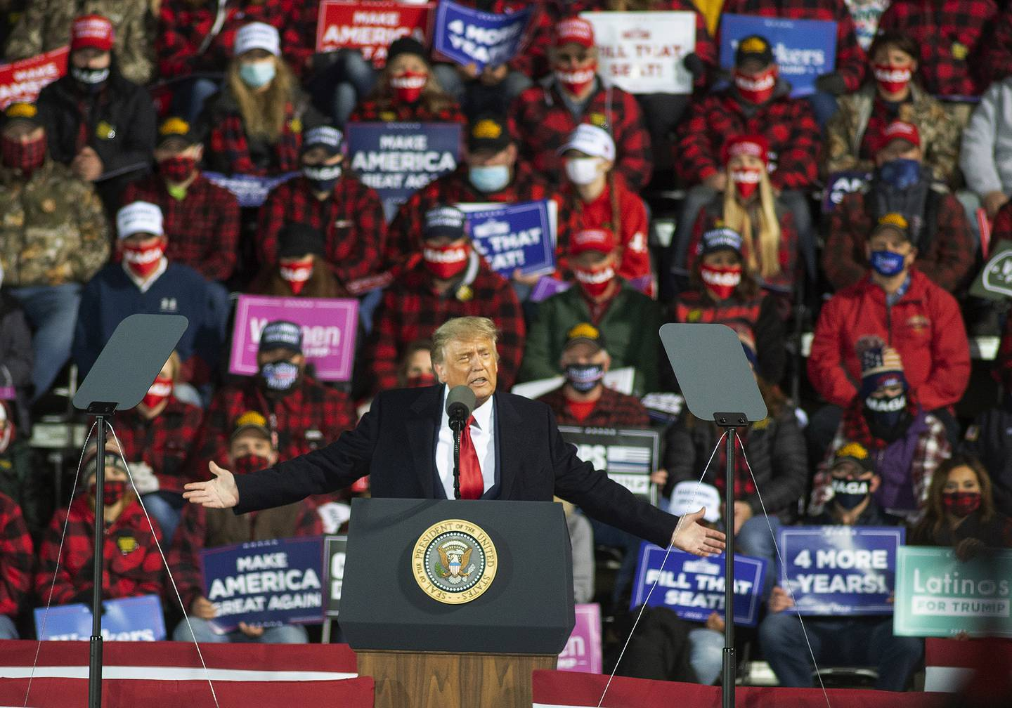 President Donald Trump speaks during a rally, Wednesday, Sept. 30, 2020, in Duluth, Minn.