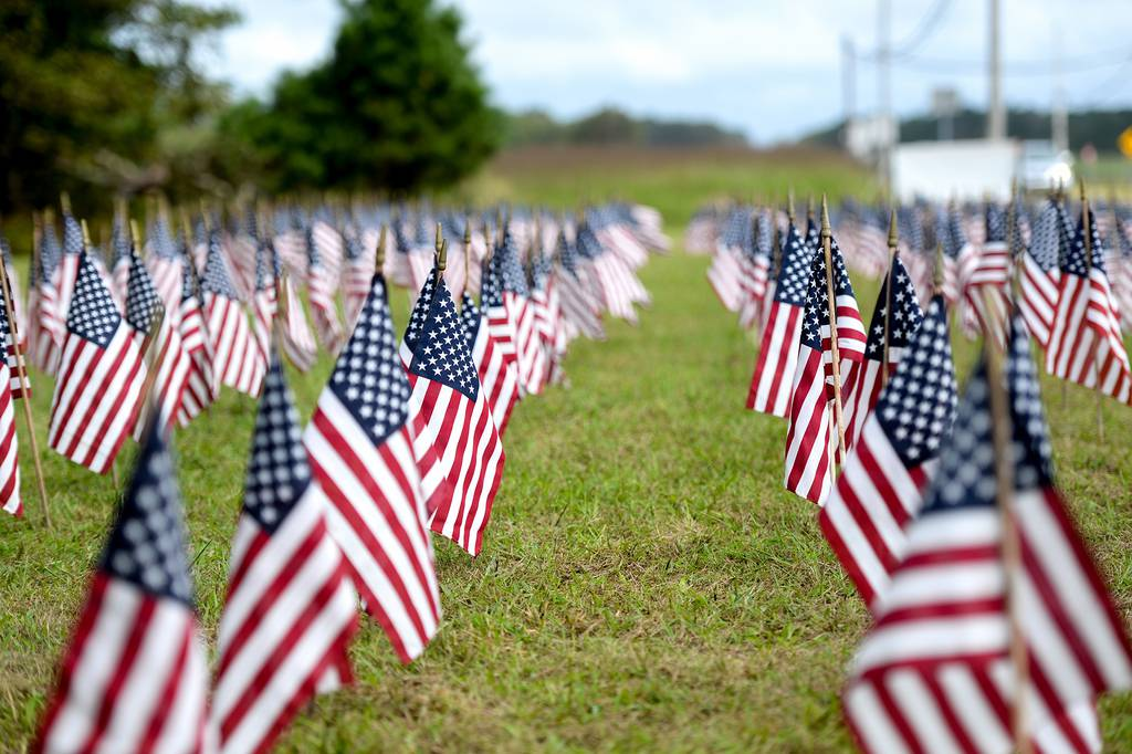 American flags stand in the ground Sept. 1, 2020, outside of the 177th Fighter Wing, Egg Harbor Township, N.J.