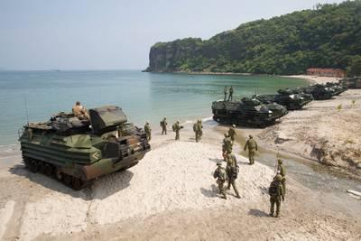 Philippine Marines, U.S. Marines, Japanese Soldiers conduct AMPHIBEX during KAMANDAG 3