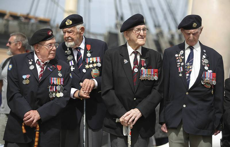 D-Day veterans gather during a D-Day commemoration
