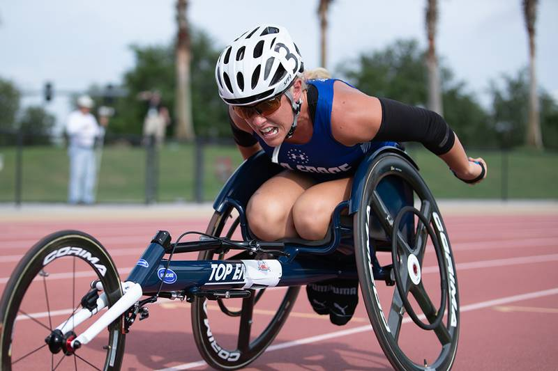 Retired Air Force Capt. Kristen Morris competes in wheel chair racing at the 2019 DoD Warrior Games on June 22 at the University of Southern Florida.