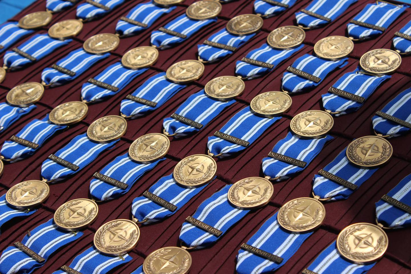 Resolute Support personnel receive NATO medals on April 27, 2016.