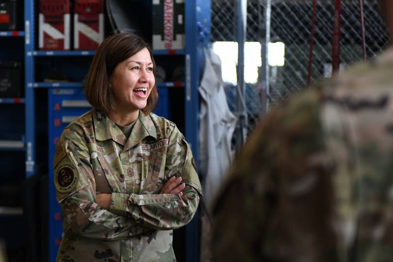 Chief Master Sergeant of the Air Force JoAnne S. Bass listens to airmen in Lincoln, Neb., July 19, 2021. During her visit, Chief Bass listened to the concerns of airmen and talked about upcoming changes to Air Force policies. (Staff Sgt. Jessica Montano/Air Force)