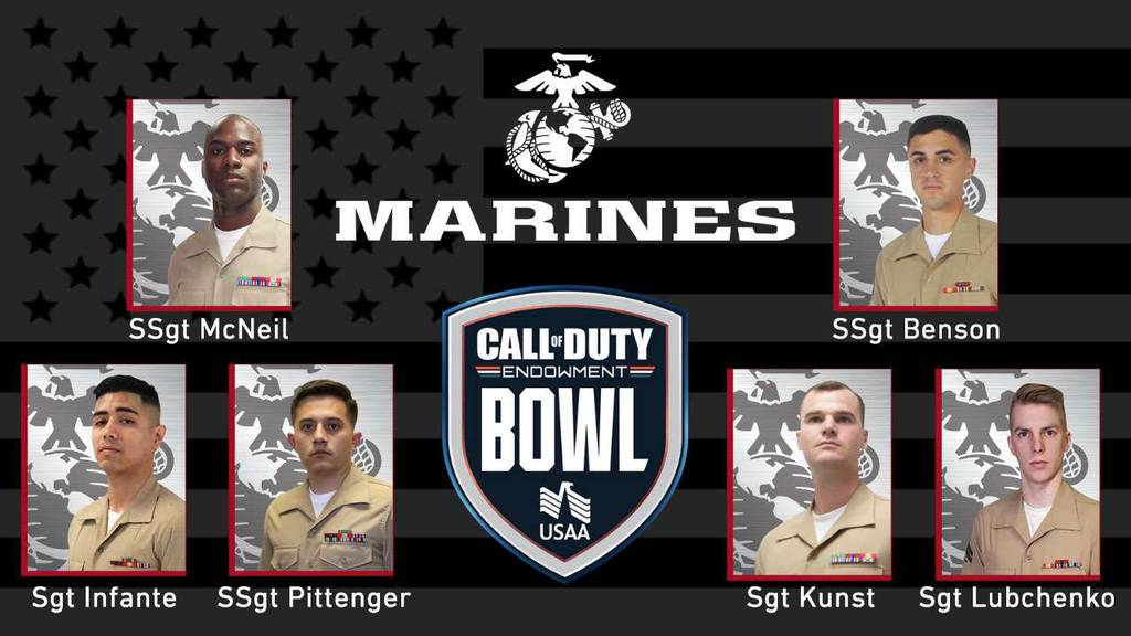 Marines competing in Call of Duty Endowment Bowl on Friday, Dec. 11, 2020: Staff Sgt. Anthony Benson, Staff Sgt. Bradly Pittenger, Sgt. Gerardo Infante, Sgt. Brian Kunst, Staff Sgt. James McNeil, Sgt. Nicholas Lubchenko