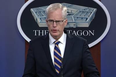 In this Nov. 17, 2020, image taken from a video, Acting Defense Secretary Christopher Miller speaks at the Pentagon in Washington.