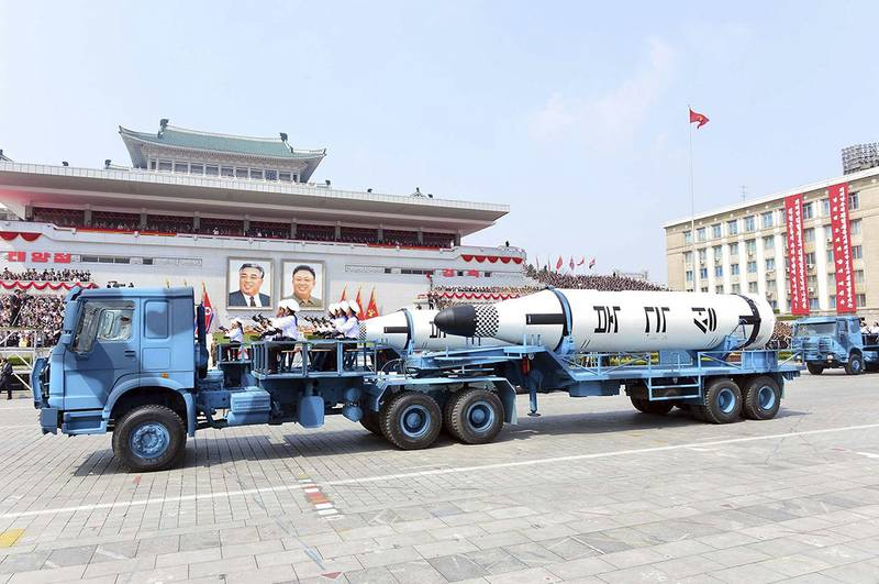 In this April 15, 2017, file photo, Polaris submarine launched ballistic missiles (SLBM) are paraded to celebrate the 105th birthday of Kim Il Sung, the country's late founder, in Pyongyang, North Korea.