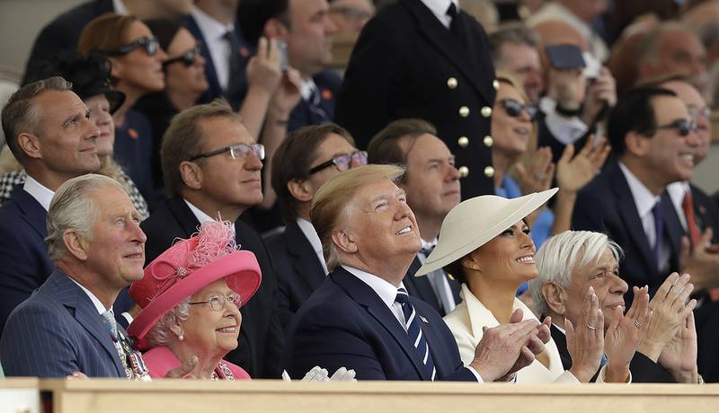 Britain's Prince Charles, Queen Elizabeth II, President Donald Trump, first lady Melania Trump and Greek President Prokopis Pavlopoulos