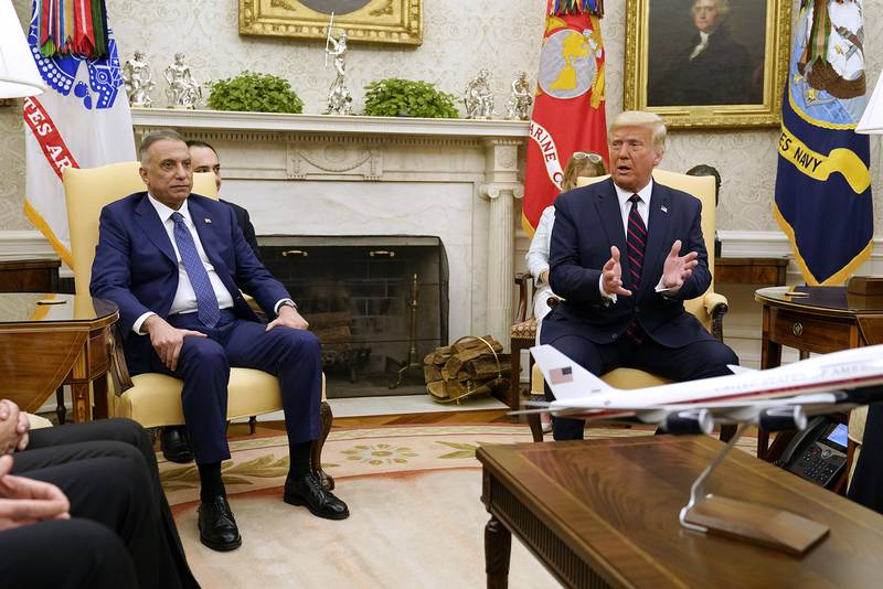 President Donald Trump meets with Iraqi Prime Minister Mustafa al-Kadhimi in the Oval Office of the White House, Thursday, Aug. 20, 2020, in Washington.