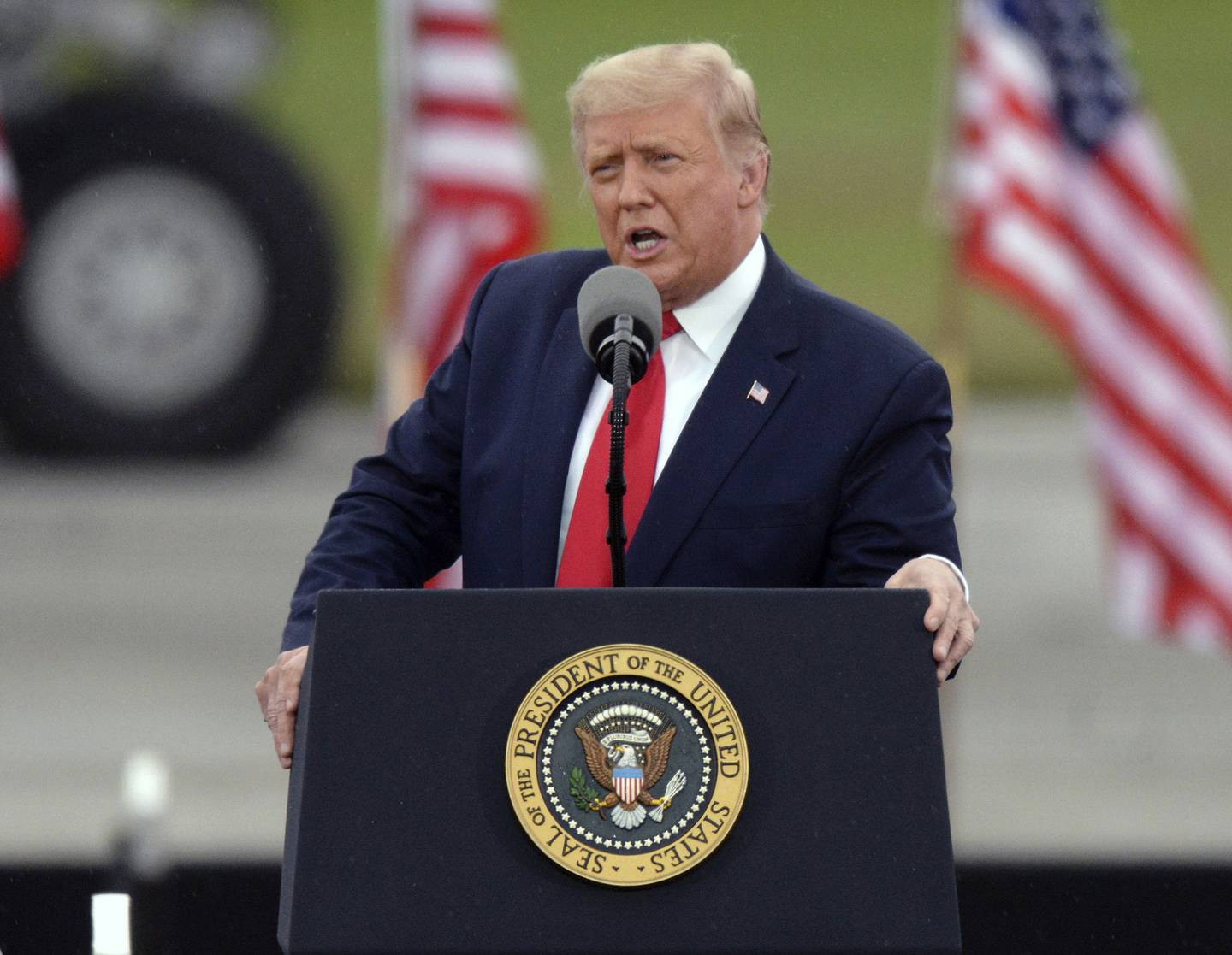 President Donald Trump speaks during a rally at MBS International Airport, Thursday, Sept. 10, 2020, in Freeland, Mich.