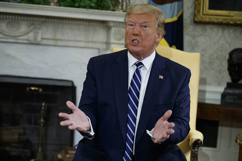 President Donald Trump speaks during a meeting with Canadian Prime Minister Justin Trudeau in the Oval Office of the White House, Thursday, June 20, 2019, in Washington.