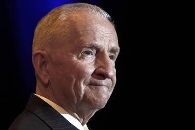 In this April 20, 2019, file photo, Ross Perot listens to a reporter's question in Kansas City, Mo.