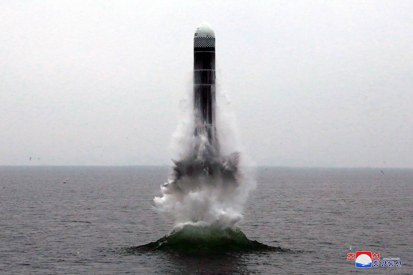 In this Oct. 2, 2019, file photo provided by the North Korean government, an underwater-launched missile lifts off in the waters off North Korea's eastern coastal town of Wonsan, North Korea.