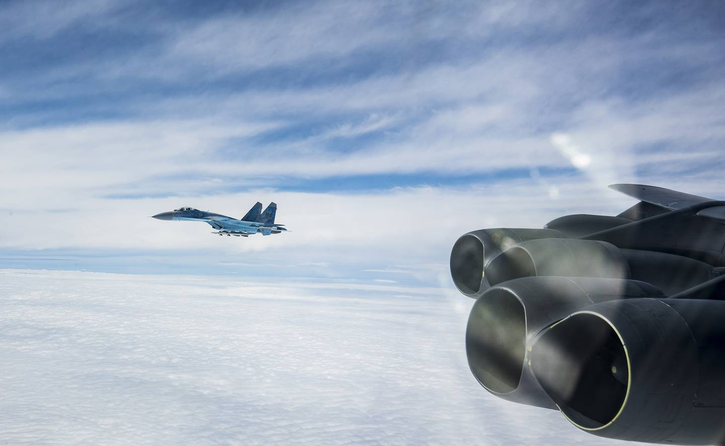 A Ukraine SU-27 integrates with a U.S. B-52H Stratofortress during a Bomber Task Force Europe mission, Sept. 4, 2020.
