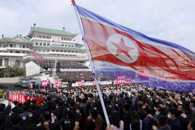 Thousands rally to welcome the 8th Congress of the Workers' Party of Korea at Kim Il Sung Square in Pyongyang, North Korea, Oct. 12, 2020.