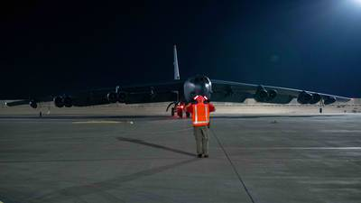 A B-52H Stratofortress assigned to the 5th Bomb Wing, Minot Air Force Base, N.D., taxis on the flight line April 23, 2021, at Al Udeid Air Base, Qatar. The B-52 aircraft are deployed to Al Udeid AB to protect U.S. and coalition forces as they conduct drawdown operations from Afghanistan. (Air Force/Staff Sgt. Greg Erwin)
