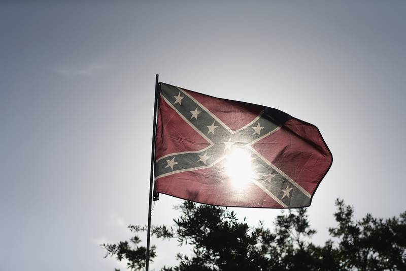 A Confederate flag is seen during a rally to show support for the American and Confederate flags on July 11, 2015, in Loxahatchee, Fla.
