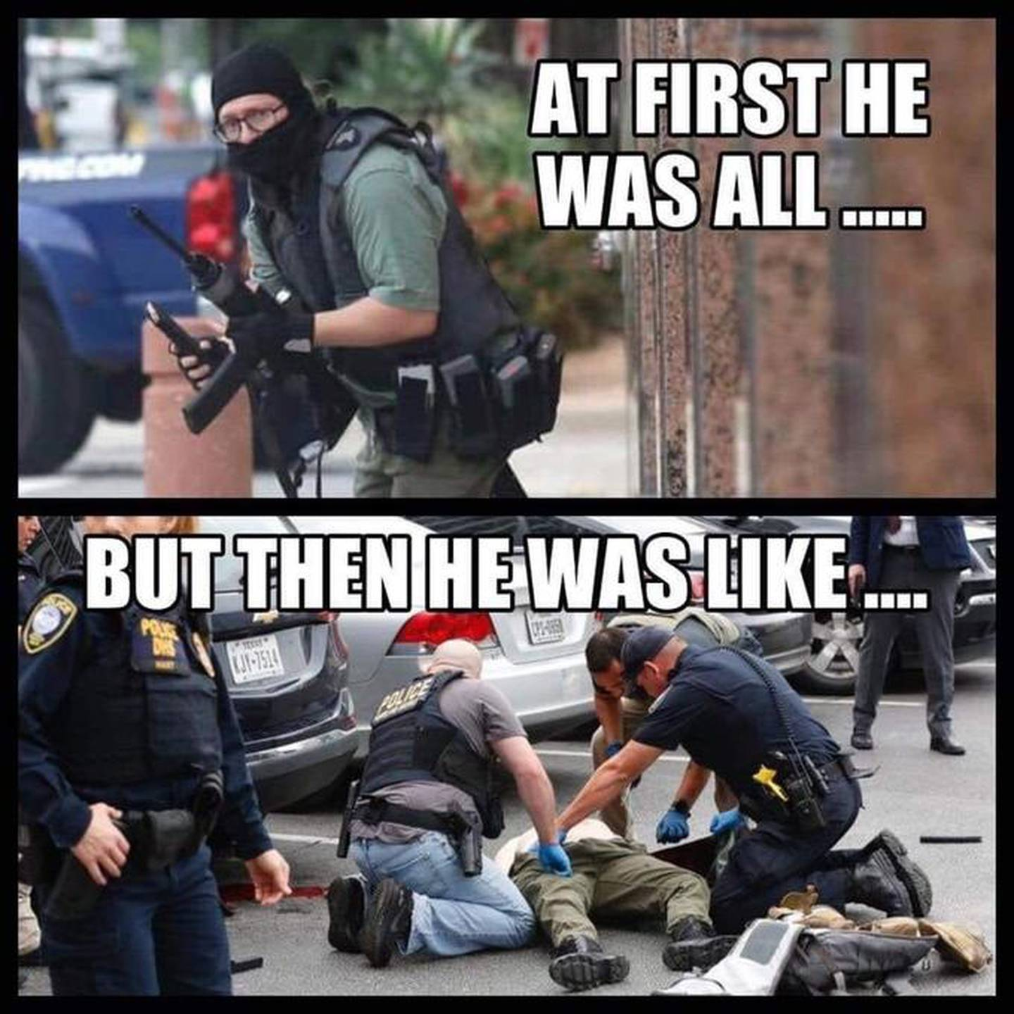 A meme of Bryan Isaack Clyde, who in 2019 opened fire on a Dallas courthouse before he was shot and subdued by three federal law enforcement officers. (Know Your Meme)
