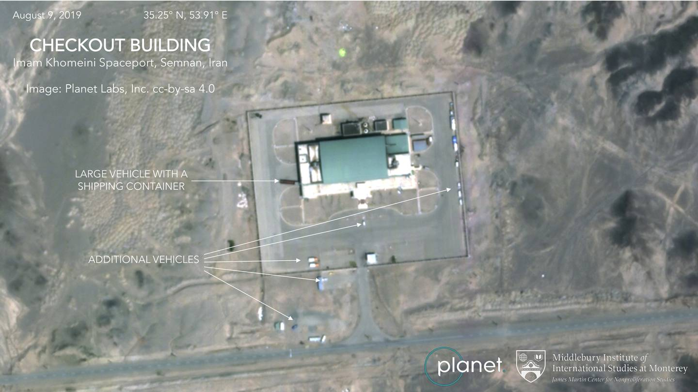 This Aug. 9, 2019, satellite image shows activity at the Imam Khomeini Space Center in Iran's Semnan province.