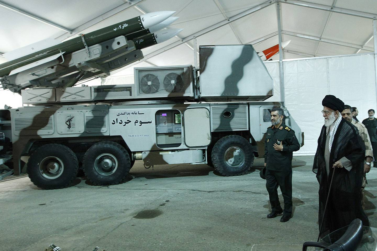 Iran said it has used its air defense system known as Third of Khordad, seen here on May 11, 2014, to shoot down the drone — a truck-based missile system that can fire up to 18 miles (30 kilometers) into the sky.