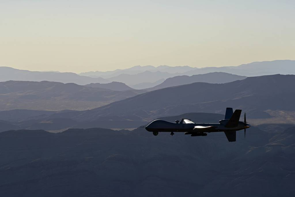 An MQ-9 Reaper flies over the Nevada Test and Training Range, July 15, 2019.