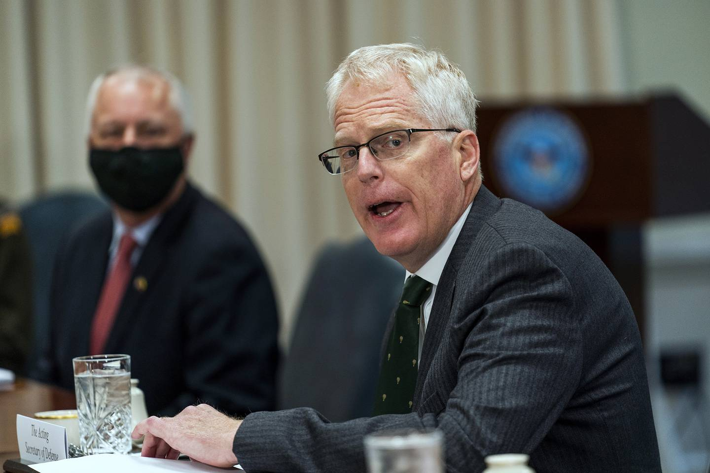 Acting Secretary of Defense Christopher Miller speaks during a meeting with Lithuanian Minister of National Defence Raimundas Karoblis at the Pentagon, Friday, Nov. 13, 2020.