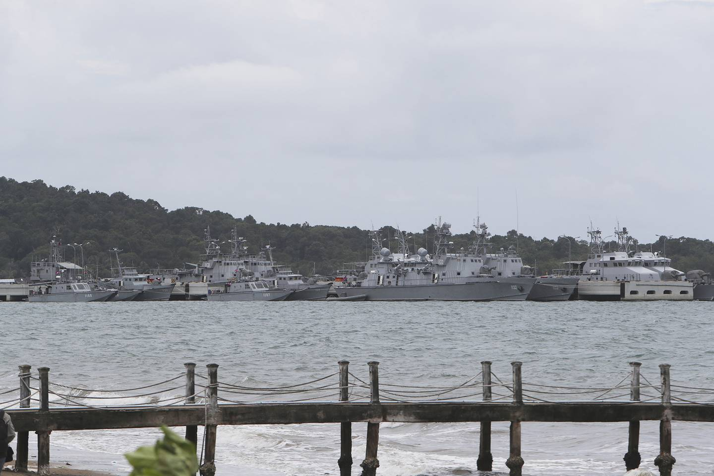Cambodian warships are docked at Ream Naval Base in Sihanoukville, Cambodia, on July 26, 2019.