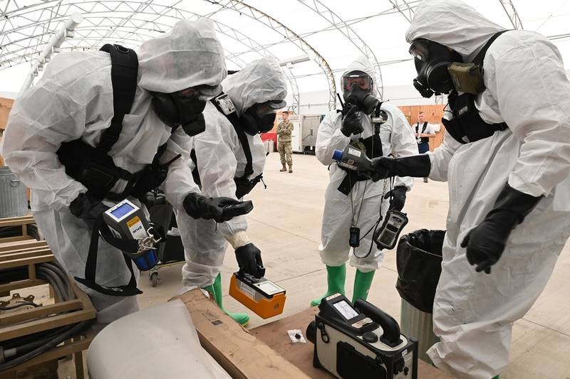 North Dakota National Guard members use hazardous material detection equipment during exercise Vigilant Guard at the North Dakota Air National Guard Base, Fargo, N.D., Aug. 4, 2020.