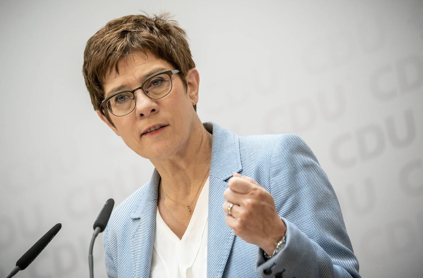Annegret Kramp-Karrenbauer, Christian Democratic Union, CDU, party chairwoman and German minister of defense, speaks at a news conference  following a CDU leaders meeting at the headquarters in Berlin