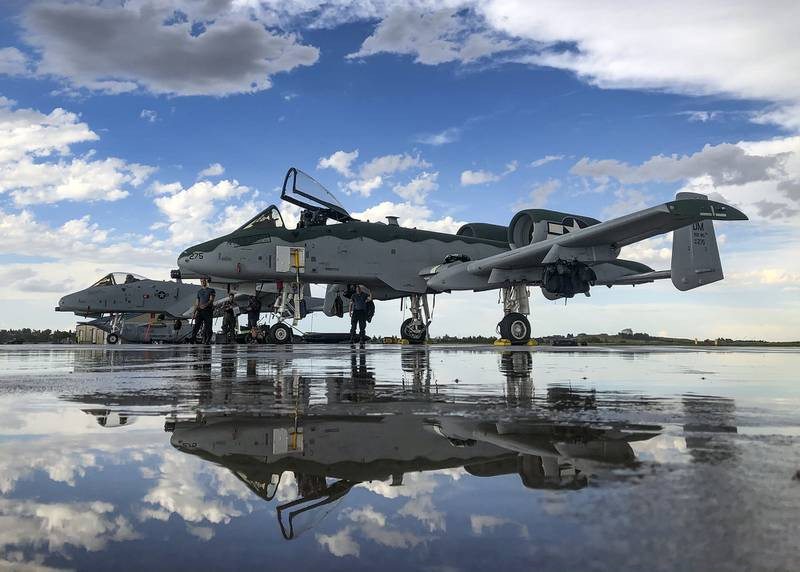 A-10 Thunderbolt IIs, assigned to the A-10 Demonstration Team, sit on the flightline at Cheyenne Air National Guard Base, Wyo., July 20, 2020.