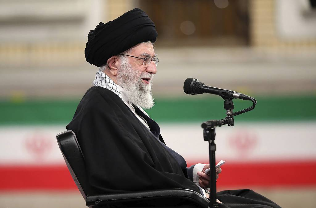 Supreme Leader Ayatollah Ali Khamenei speaks during a meeting with army's air force and air defense staff in Tehran, Iran, Sunday, Feb. 7, 2021.
