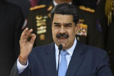 In this March 12, 2020 file photo, Venezuelan President Nicolas Maduro speaks at the Miraflores presidential palace in Caracas, Venezuela.