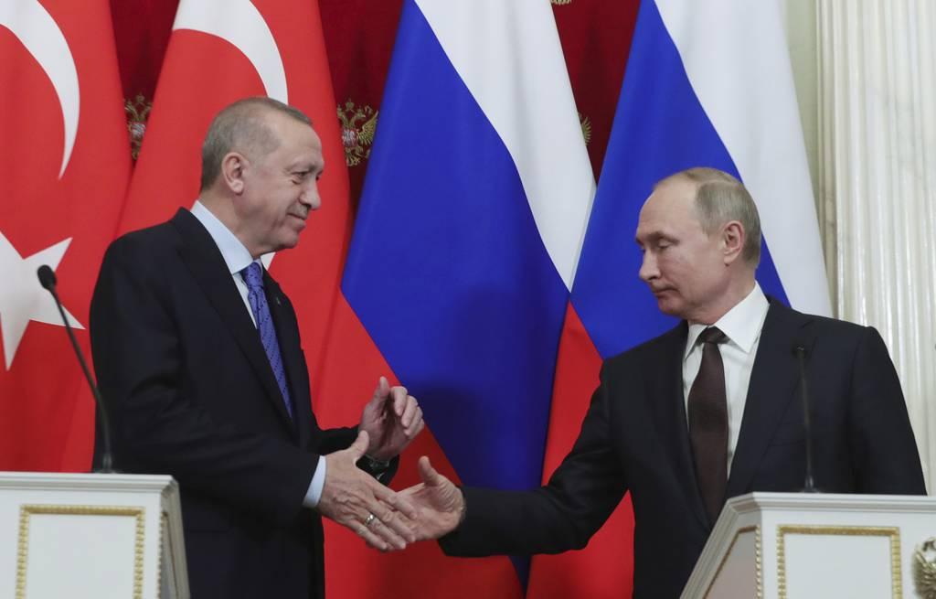 Russian President Vladimir Putin, Turkish President Recep Tayyip Erdogan