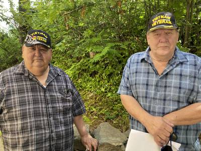 Chris Kiana, left, and Harold Rudolph pose for a photo July 20, 2020, in Anchorage, Alaska.