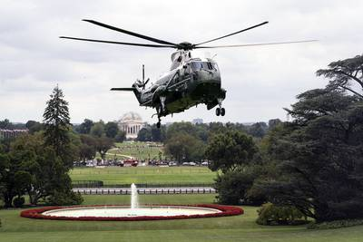 Marine One carrying President Donald Trump approaches for a landing on the South Lawn of the White House on Sept, 1, 2019, from Camp David near Thurmont, Md.