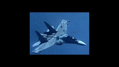 """An image of a Venezuela SU-30 Flanker that """"aggressively shadowed"""" a U.S. EP-3 Aries II at an unsafe distance July 19, 2019, jeopardizing the crew & aircraft."""