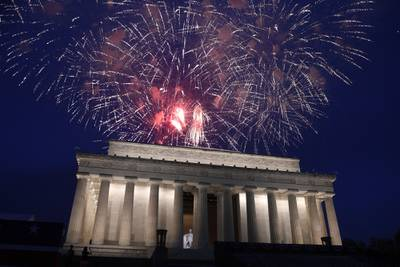 In this July 4, 2019, file photo, fireworks go off over the Lincoln Memorial in Washington on July 4, 2019.