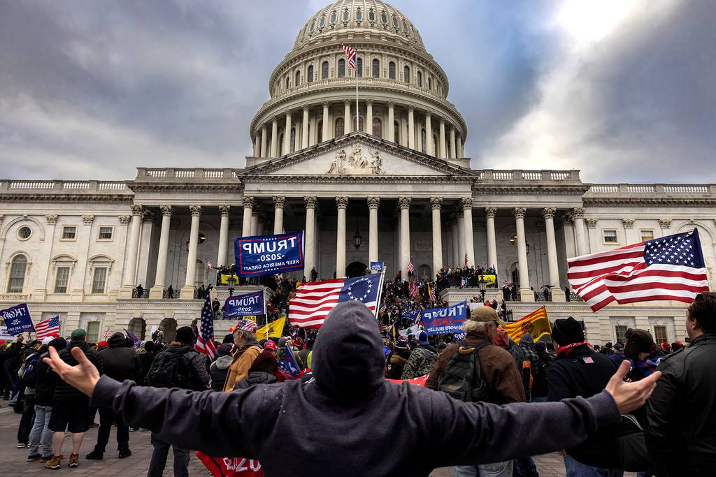 Pro-Trump protesters gather in front of the U.S. Capitol Building on Jan. 6, 2021, in Washington.