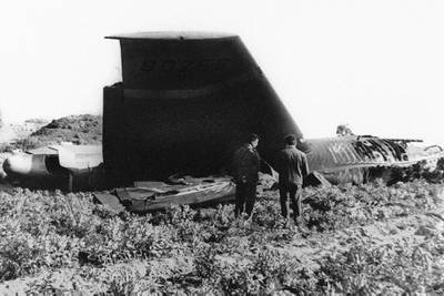This Jan. 17, 1966, file photo, shows part of the wreckage of the U.S. Air Force B-52 that crashed in Palomares, Spain, after a mid-air collision with a KC-135 aerial tanker during refueling.