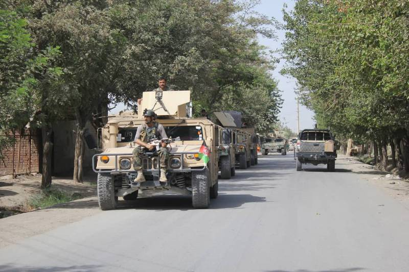 Afghan security forces arrive during a fight against Taliban fighters in Kunduz province north of Kabul, Afghanistan, Saturday, Aug. 31, 2019.