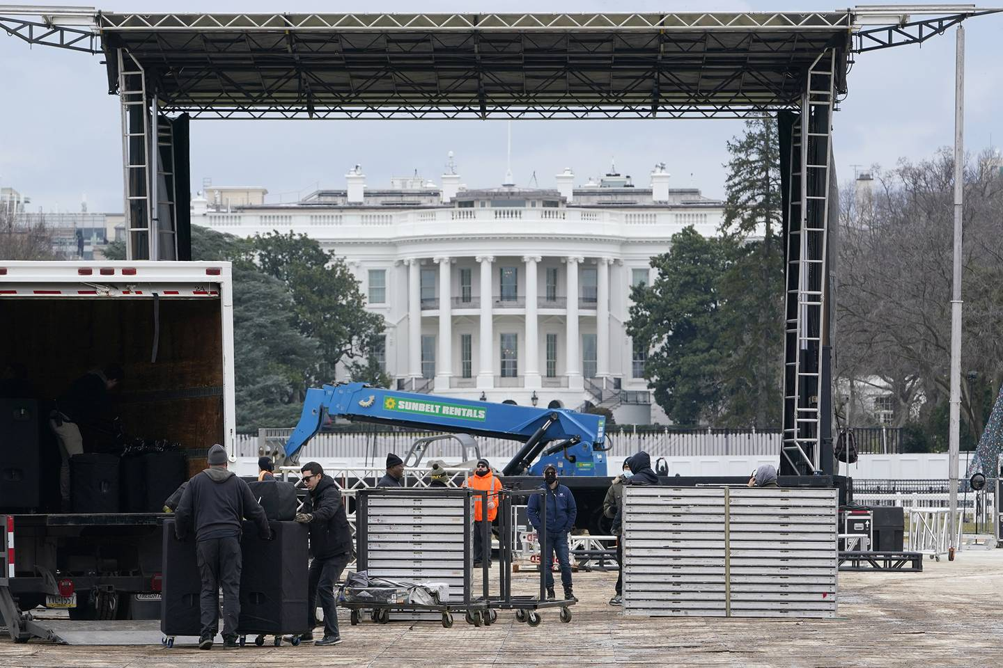 A stage is set up on the Ellipse near the White House in Washington, Monday, Jan. 4, 2021, in preparation for a rally on Jan. 6, the day when Congress is scheduled to meet to formally finalize the presidential election results.