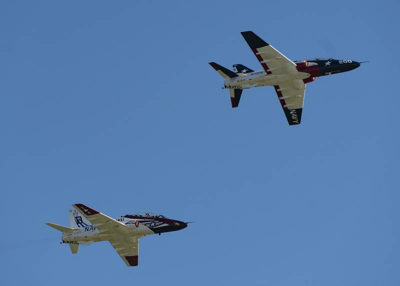 Rear Adm. Daniel Dwyer takes the lead in a T-45C Goshawk jet aircraft July 26, 2019, during an aerial change of command ceremony aboard Naval Air Station Corpus Christi, Texas.